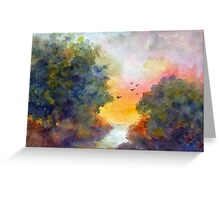 Spring landscape with birds Greeting Card