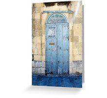 Blue weathered door Greeting Card