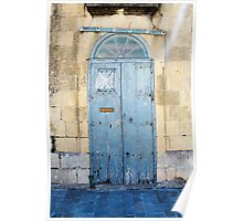 Blue weathered door Poster