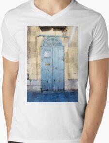 Blue weathered door Mens V-Neck T-Shirt