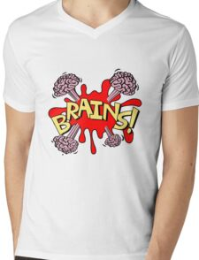 Brains! Mens V-Neck T-Shirt