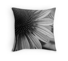 Black and White Summer Flowers Throw Pillow