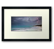 Lightning over Burns Beach Framed Print