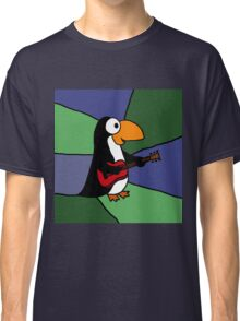 Awesome Penguin Playing Red Guitar Classic T-Shirt