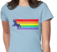'80s Vintage Unicorn Rainbow (distressed look) Womens Fitted T-Shirt