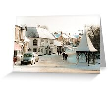 Snowy Village Scene Greeting Card