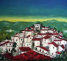 spanish hill town in acrylic by lalik