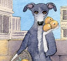 Nell Whippet, orange seller by SusanAlisonArt