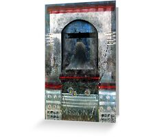 Bell Tower, Mission 21 with Flowers, USA. Greeting Card