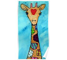 Love and Patterned Giraffe  Poster