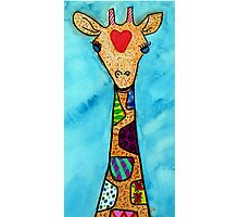 Love and Patterned Giraffe  Photographic Print