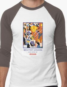 Brightest London Vintage Poster Restored Men's Baseball ¾ T-Shirt