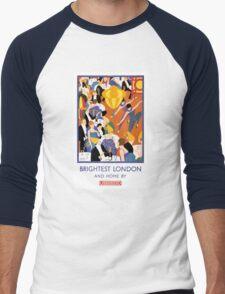 Brightest London Vintage Poster Restored Men's Baseball ¾ T-Shirt