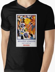 Brightest London Vintage Poster Restored Mens V-Neck T-Shirt