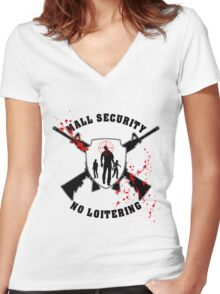 Zombie Mall Security Women's Fitted V-Neck T-Shirt