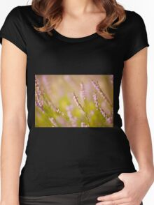 Soft focus of pink heather macro Women's Fitted Scoop T-Shirt