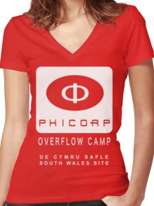 Torchwood: PhiCorp camps Women's Fitted V-Neck T-Shirt
