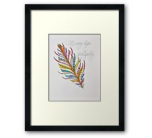 Feathers/6 - Gratitude/2 Saying Framed Print