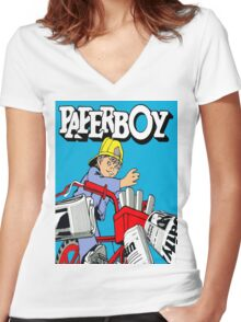 paperboy Women's Fitted V-Neck T-Shirt