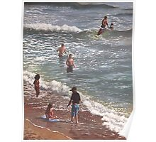 people on bournemouth beach waves and people Poster