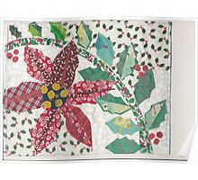 Poinsettia and Holly in the Snow Poster