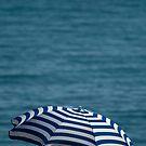 Striped beach umbrella by Liza Kirwan
