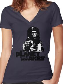 Planet of the Remakes Women's Fitted V-Neck T-Shirt