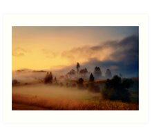 Misty village Art Print