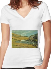 Ashleigh Falls, County Mayo, Ireland Women's Fitted V-Neck T-Shirt