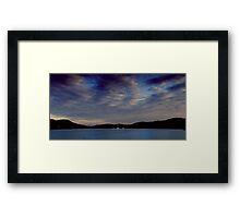 Setting sail on the sunset sea Framed Print