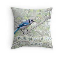 Joyous Easter Blue Jay Card Throw Pillow