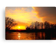 Late Evening Over the River Tees, Swine Lairs Farm River Ford. England Canvas Print