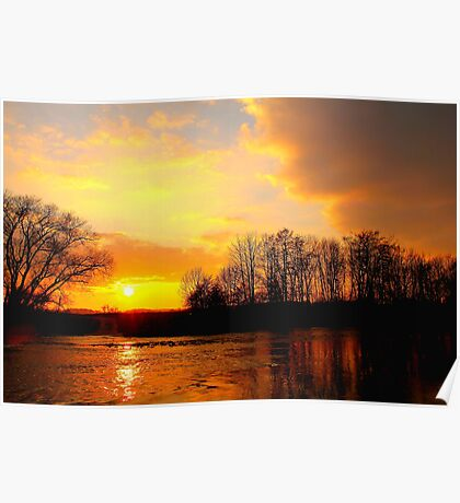 Late Evening Over the River Tees, Swine Lairs Farm River Ford. England Poster
