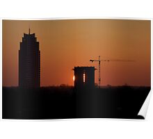 Construction site in sunset Poster