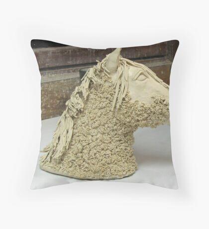 Horse head sculpture side view Throw Pillow