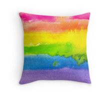 Watercolor Gay Pride Flag Throw Pillow