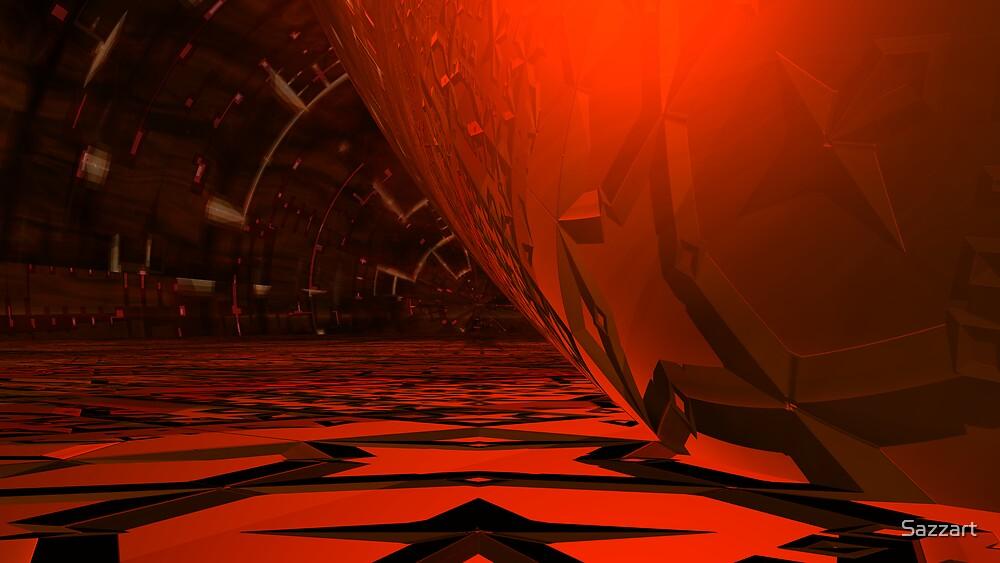 Glass & Spheroid TechoFractallation in Red by Sazzart