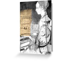 lady playing harpsicord Greeting Card