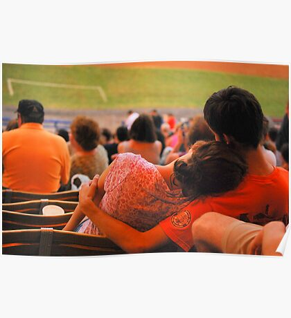 Romance At Baseball Game Poster