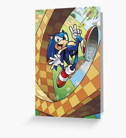 sonic on the run Greeting Card