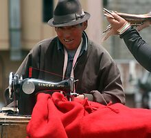 Man sewing, Quilitoa by J Forsyth