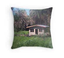 House from bus window, Fiji Throw Pillow