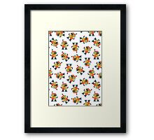 Happy Robot Pattern Framed Print