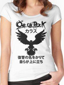 Karasu (カラス) [Black] Women's Fitted Scoop T-Shirt