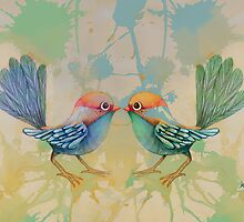 little love birds blue by © Karin Taylor