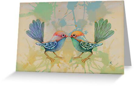 little love birds blue by © Karin  Taylor
