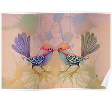 little love birds pink Poster