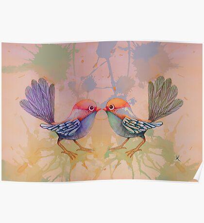 little love birds pink Poster
