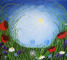 """Moonlit night"" poppy poppies wall art Original print painting decor wall art starry night  by wrightsonarts"
