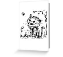 kitty playing wid butterfly Greeting Card
